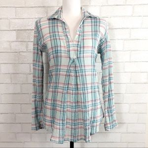 SUNDANCE Blue Molly Plaid Crinkle Tunic size S